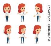 set of reception character in... | Shutterstock .eps vector #209229127