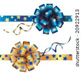 yellow and blue bows with stars   Shutterstock .eps vector #20922913