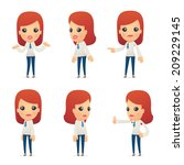 set of reception character in different interactive  poses