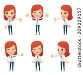 set of reception character in... | Shutterstock .eps vector #209229157