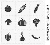 vegetable black icon set on... | Shutterstock .eps vector #209236315