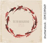 circle of little red fishes... | Shutterstock .eps vector #209239069