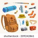 camping equipment. vector... | Shutterstock .eps vector #209242861