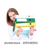 Business Woman Holding Folders...