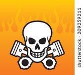 skull and crossed pistons on... | Shutterstock .eps vector #209259211