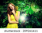attractive young woman  among... | Shutterstock . vector #209261611