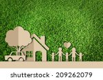 paper cut of family on green... | Shutterstock . vector #209262079