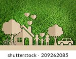 paper cut of family on green... | Shutterstock . vector #209262085