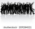 dancing people silhouettes | Shutterstock .eps vector #209284021
