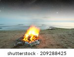 inviting campfire on the beach... | Shutterstock . vector #209288425