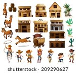 illustration of cowboys and... | Shutterstock .eps vector #209290627