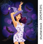 sexy dancing halloween witch | Shutterstock .eps vector #209295391