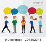 men talks and gather together... | Shutterstock .eps vector #209302345