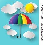 colorful umbrella flying high... | Shutterstock .eps vector #209305657
