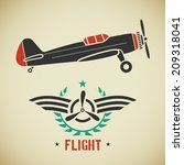 retro flat looking plane and... | Shutterstock .eps vector #209318041