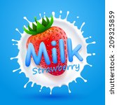 label milk strawberry  milk... | Shutterstock .eps vector #209325859