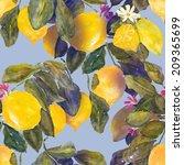 lemons seamless pattern | Shutterstock . vector #209365699