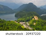 Landscape of Bavarian Alps in Germany, Hohenschwangau Castle view - stock photo