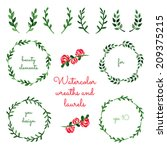 set of watercolor wreaths and... | Shutterstock .eps vector #209375215
