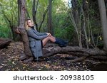 a young blond woman sit on a... | Shutterstock . vector #20938105