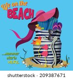 beach bag   striped summer bag... | Shutterstock .eps vector #209387671