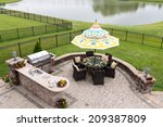 outdoor living space on a brick ... | Shutterstock . vector #209387809