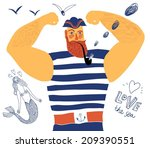 the mighty cartoon sailor with... | Shutterstock .eps vector #209390551