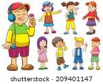 set of cartoon kids.eps10  file ... | Shutterstock .eps vector #209401147
