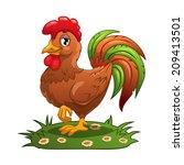 cartoon cock on the grass ... | Shutterstock .eps vector #209413501