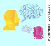 man and woman speech bubble... | Shutterstock .eps vector #209431189