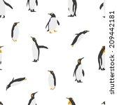 seamless penguin pattern. birds ... | Shutterstock .eps vector #209442181