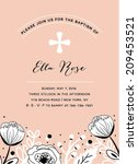 Baptism invitation for girls in vector