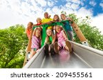 view from below of many kids on ... | Shutterstock . vector #209455561