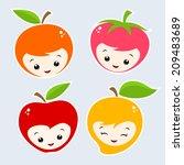 cute cartoon fruit faces.... | Shutterstock .eps vector #209483689