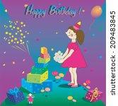 template happy birthday card.... | Shutterstock .eps vector #209483845
