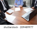 close up of business meeting in ...   Shutterstock . vector #209489977