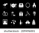 wedding icons on black with... | Shutterstock . vector #209496001