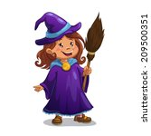 Little Witch  Cute Cartoon Gir...