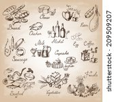 retro vintage style food design....   Shutterstock .eps vector #209509207