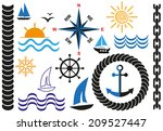 icons on marine theme with... | Shutterstock .eps vector #209527447