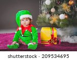 Girl Dressed As An Elf. New Year