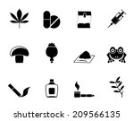 Silhouette Different kind of drug icons - vector icon set