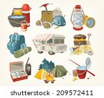 set of items and devices for... | Shutterstock .eps vector #209572411