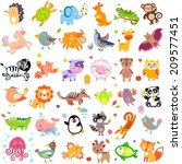 Vector illustration of cute animals and birds: quail, giraffe, vampire bat, cow, sheep, bear, owl, whale, panda, lion, fox, quail, tiger, turtle, kangaroo, monkey, jellyfish, unicorn, numbat, jungle