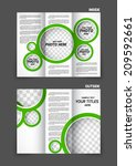 tri fold brochure with circles... | Shutterstock .eps vector #209592661