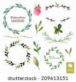 hand painted watercolor design... | Shutterstock .eps vector #209613151