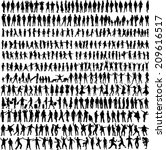 people mix silhouettes  vector... | Shutterstock .eps vector #209616517