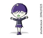 cartoon waving vampire girl | Shutterstock . vector #209619325