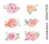 Stock vector watercolor roses vector watercolor flower bouquet vector 209627935