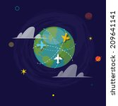 world globe with flying plane.... | Shutterstock .eps vector #209641141